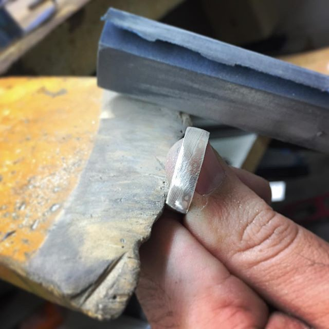 Current WIP - a moku megane wedding ring for a very special customer, who is after a unique ring with an organic feel. Next step, a hammered finish.
