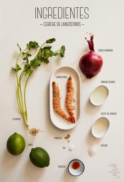 Ingredientes: Cebiche de langostinos