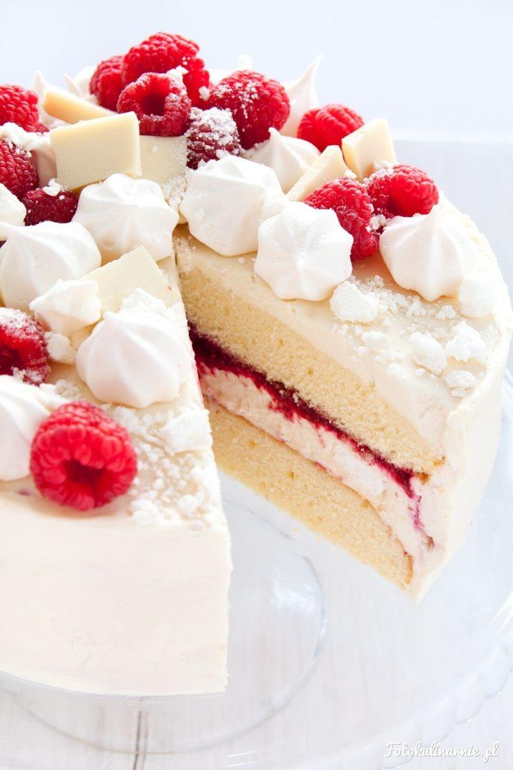 Halva, White Chocolate, Meringue and Raspberry Cake.