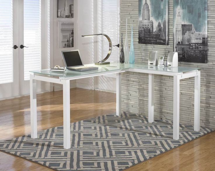 Baraga White Metal PVC Glass L Desk H410 24