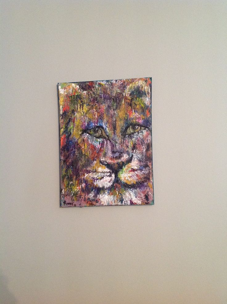 Lion acrylic pallet knife down strokes