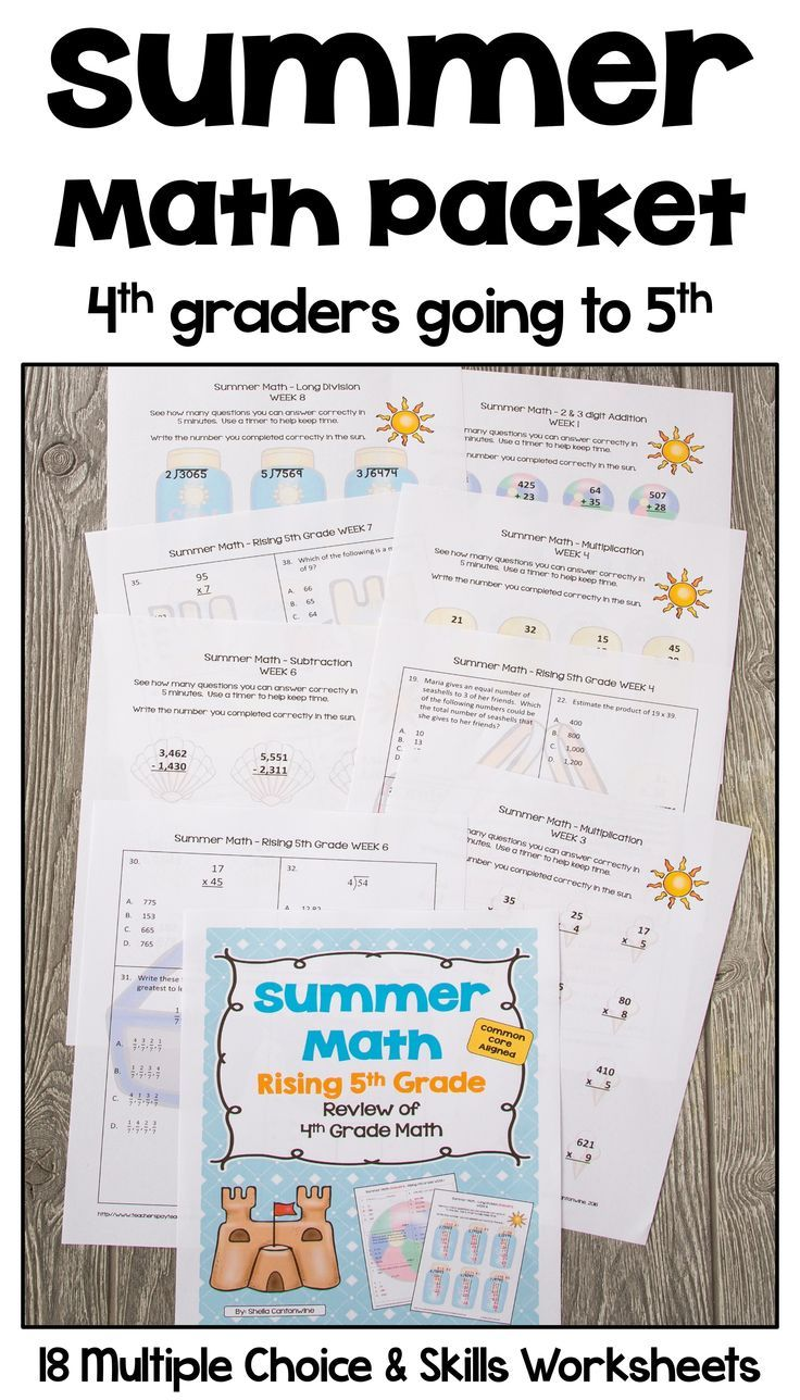 Summer Math Packet For Rising 5th Graders Review Of 4th Grade Math Summer Math Summer Math Packet Math Packets [ 1288 x 736 Pixel ]