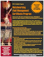 2013 Metalworking Fluid Management Course, to be held Feb 19-21, 2013 in Philadelphia, PA. Course details: https://www.stle.org/university/courses.aspx