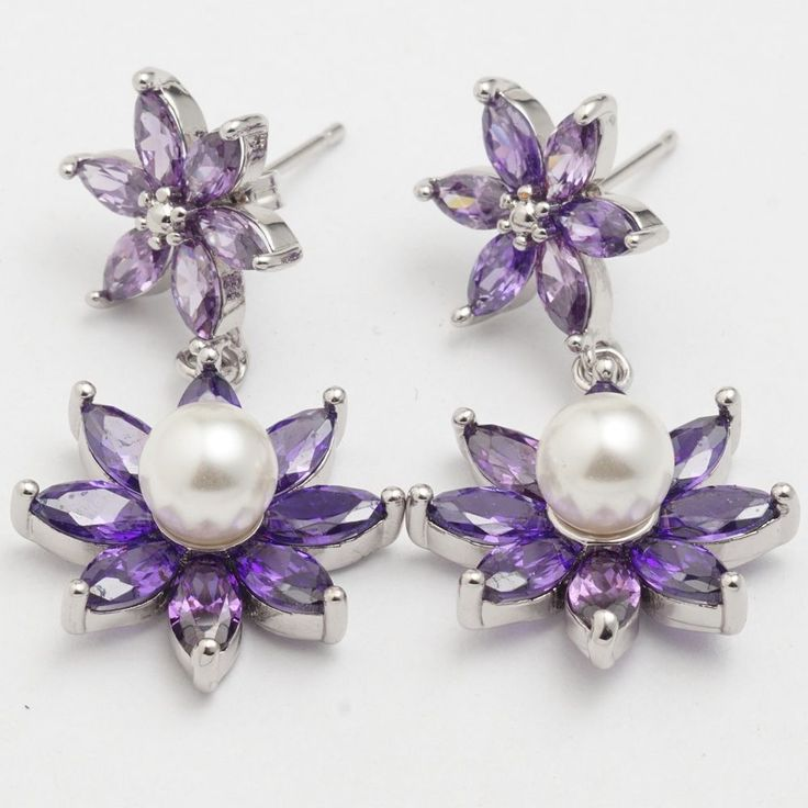 Pearl Purple Marquise Cubic Zircon White Gold Plated Flower Link Drop Earrings #Unbranded #DropDangle