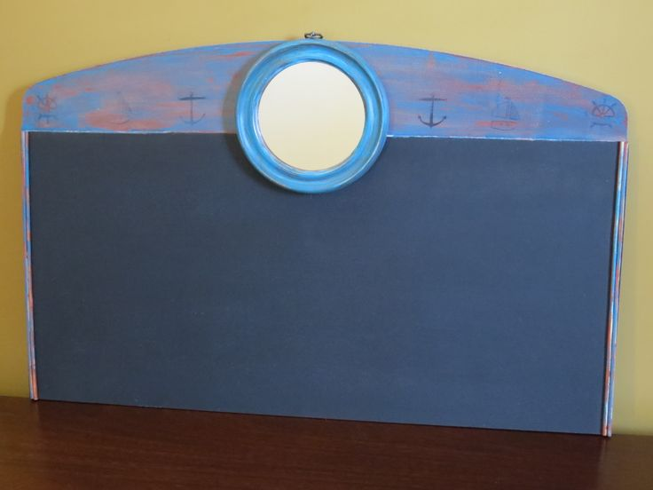 Nautical theme chalkboard with mirror port hole.  Flush mount brackets installed.  Would look great in a boys room or cottage!http://kimber-creations.myshopify.com