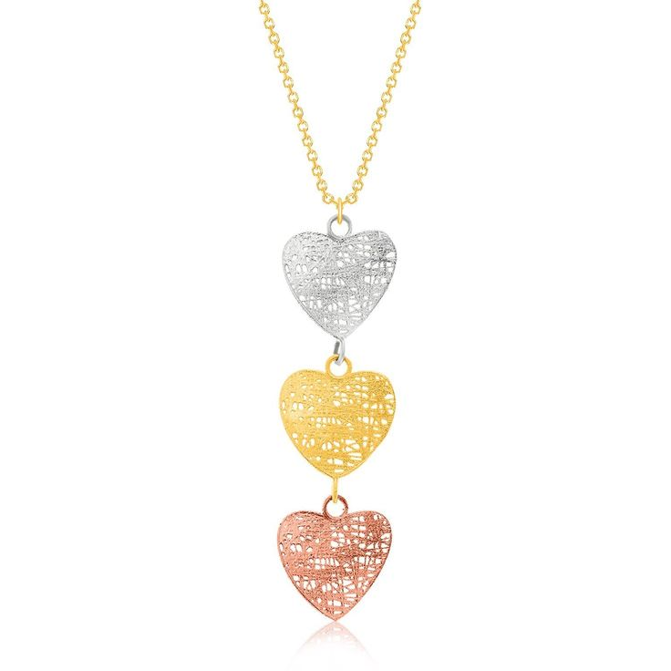 Gold Necklace | 14K Tri-Color Gold Mesh Wire Heart Pendant #necklaces