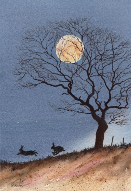Painting Hares in Moonlight Limited Edition Print | eBay