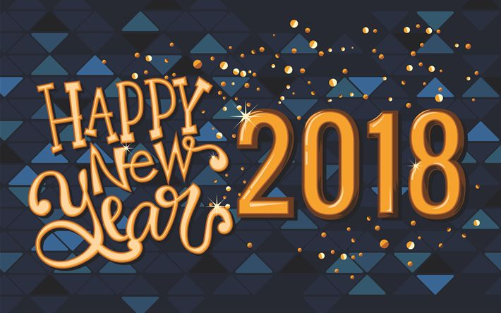 Download wallpapers Happy New Year 2018, 4k, xmas, Christmas, New Year 2018, blue background