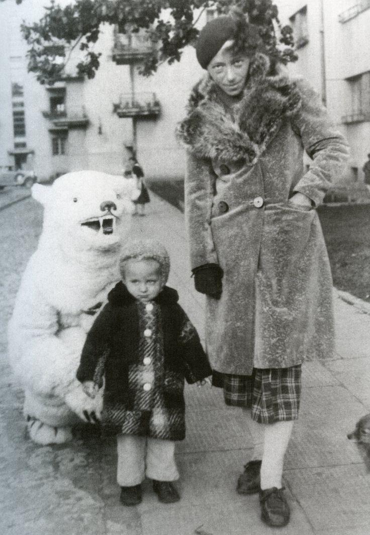 Polish Constructivist Katarzyna Kobro posing with daughter Nika and polar bear…
