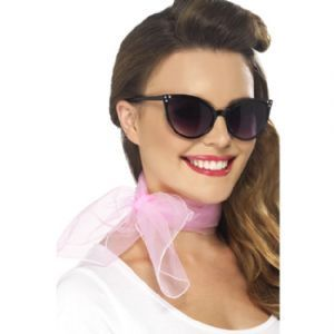 50's Neck Scarf, Pink, Chiffon Pink Ladies Fancy Dress Style: Cosmetics4uOnline.co.uk: Fancy Dress > Adult Themes > Grease Fancy Dress Costumes, Wigs & Accessories