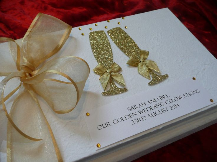 Golden Wedding Anniversary Gold 50th Personalised Guest Book Album Engagement