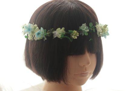 プリザーブドフラワーブーケと花冠 滋賀へ ブルースター : 一会 ウエディングの花