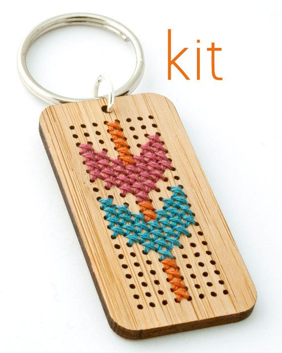 Cross Stitch Kit - Stitched bamboo keyring with chevron pattern. $14.00, via Etsy.