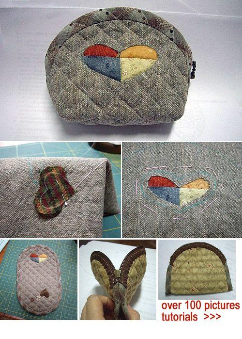 Japanese patchwork quilt bag / zipper pouch sewing purse DIY tutorial. http://www.handmadiya.com/2015/09/japanese-patchwork-purse-tutorial.html