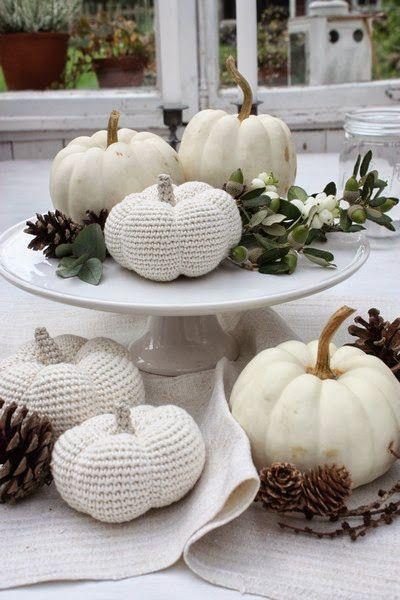 white crochet pumpkin