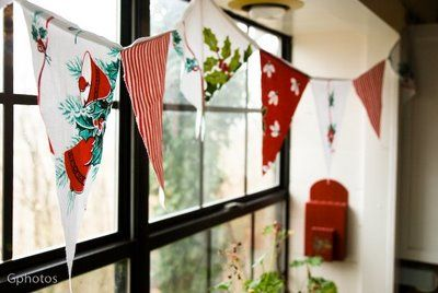 Christmas bunting from old tablecloths and fabric.