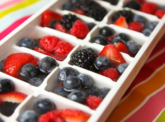Fruitcubes  squish blackberries, strawberries, raspberries and blueberries into the squares of an ice cube tray. Fill in the gaps with water and freeze. Plop a few of them into a glass of water. They are so pretty! And they added such a nice fruity flavor to my cold, refreshing drink.
