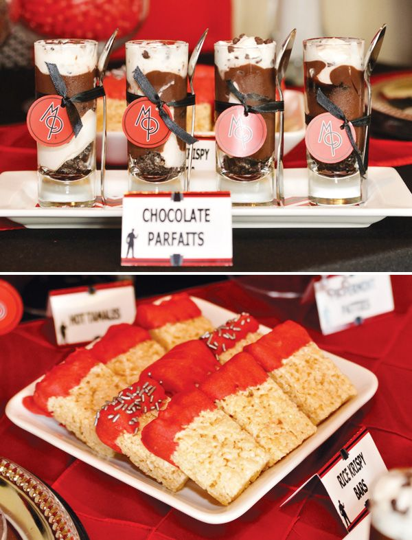 chocolate-parfaits for Mafia-Gangster-Great Gatsby party Styling:  / Banner Events /