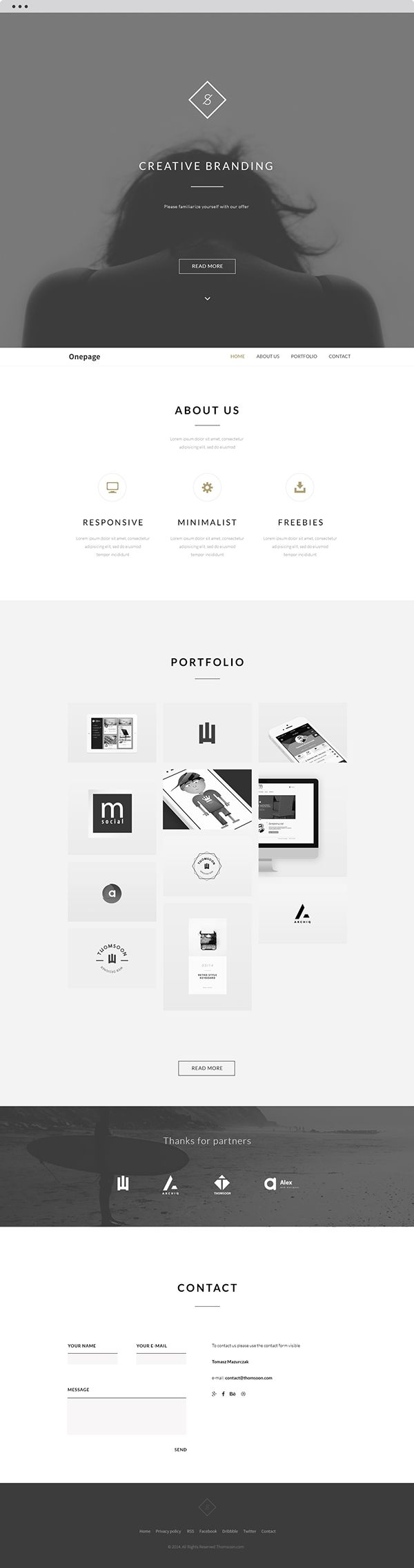 FREE Landing Website | Clean theme | Behance API + PSD on…