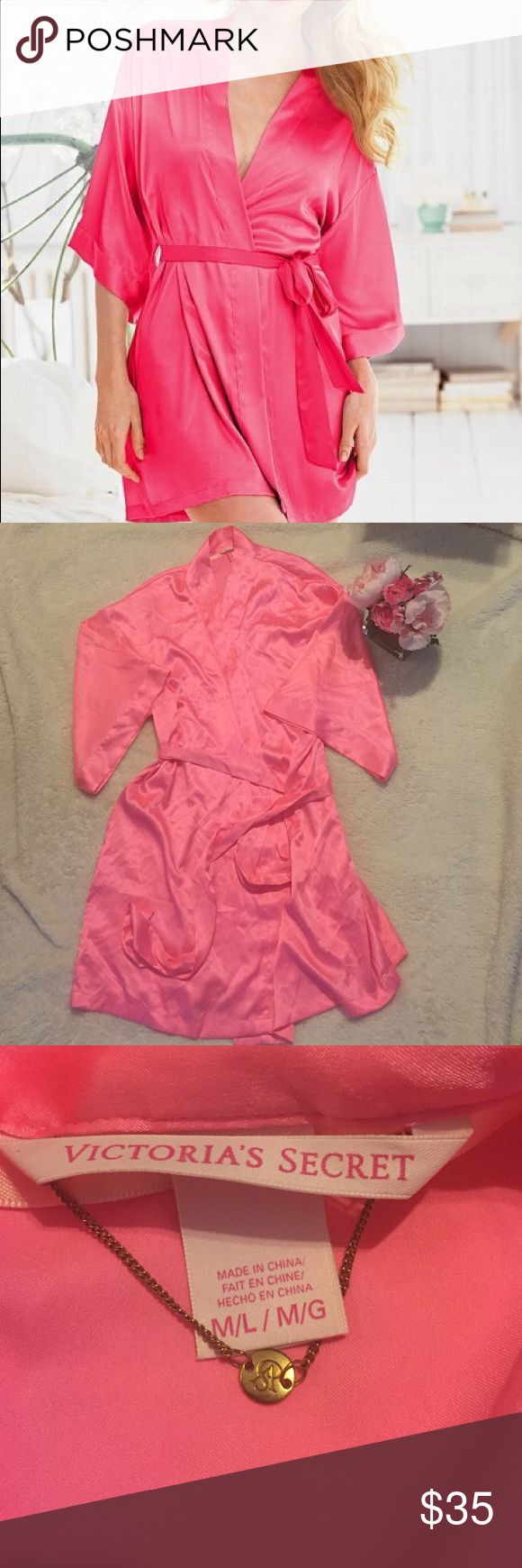 NWOT Victoria's Secret pink silk robe size M/L Gorgeous pink silk robe by Victoria's Secret never worn in perfect condition. Size M/L- has ties inside and outside and pockets. Sleeves are 3/4 length. A gorgeous piece ❤️ purchased from Victoria's Secret full price, sadly I never wore it. Victoria's Secret Intimates & Sleepwear Robes