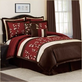 Perfect for the red and brown bedroom. Maybe get a light colored rug to lay in the center over the dark brown carpet??