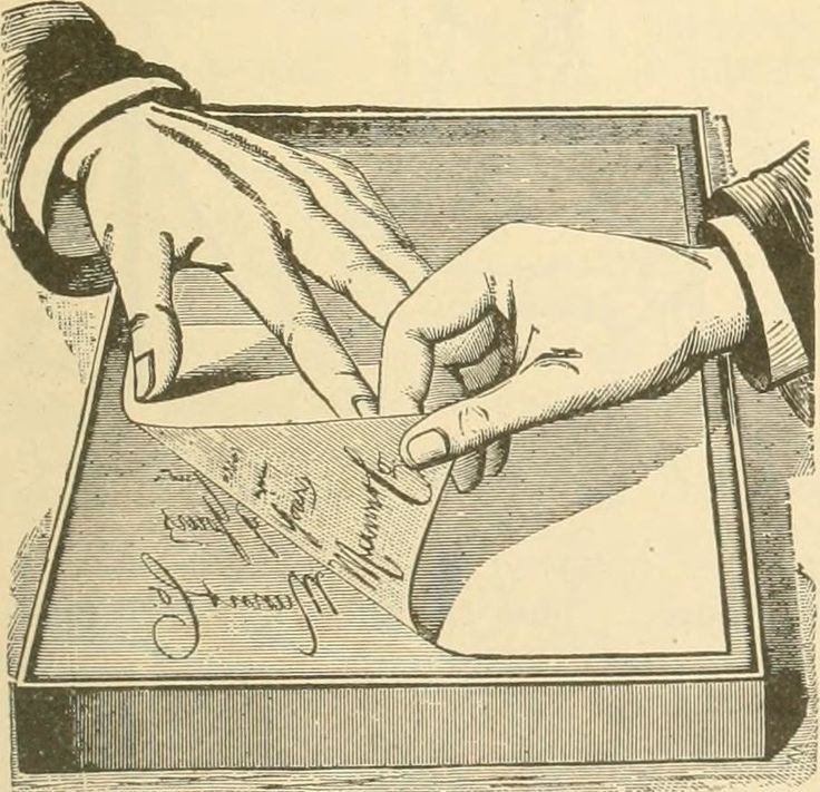An illustration showing the mechanics of a hectograph, which involved gelatin.