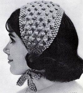 Popcorn-Stitch Headband knit pattern from High Fashion Hats, originally published by Bernhard Ulmann, Volume 62, in 1961.