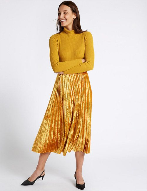 a2ea909194 Velvet Pleated A-Line Midi Skirt M&S on We Heart It | Fashion in ...