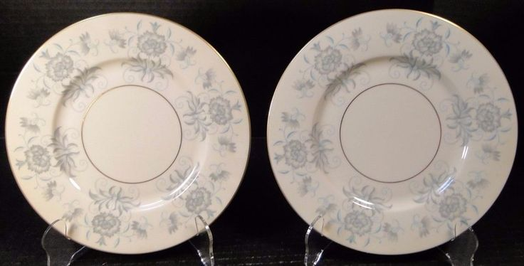 "Castleton China Caprice Salad Plates 8 1/4"" Blue Gray Floral TWO EXCELLENT!  #CastletonChina"