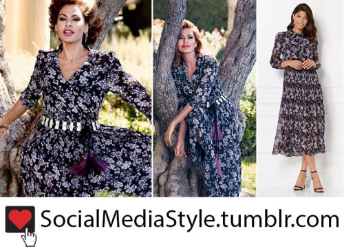 Buy the NY&C: Eva Mendes Collection Black and Purple Floral Print Dress, here!