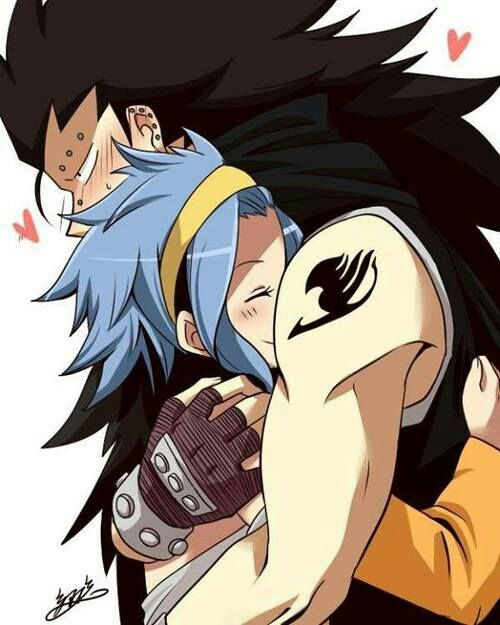 Gajeel, Levy, blushing, couple; Fairy Tail