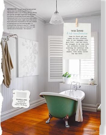 Timber panelling in bathroom painted Dulux Whisper White