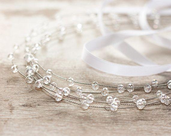 Silver headband, Grecian hair accessories, Wedding hair accessories, Crystals hair accessory, Сrystals crown, Silver tiara, Bridal tiara.