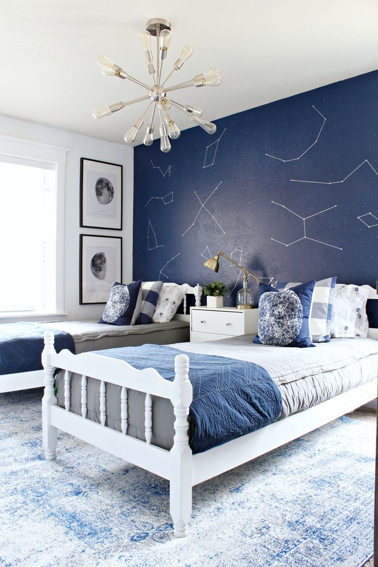Space themed boy bedroom with Rugs USA's Bosphorus BD29 Faded Shadow Mystique Rug!