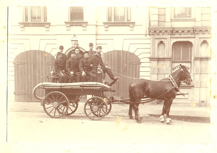 Goulburn Fire Brigade in 1890 at the front of the old fire station in Montague Street