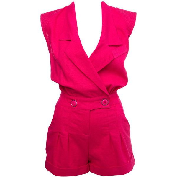 Pink Multi Stitch Playsuit ($70) ❤ liked on Polyvore
