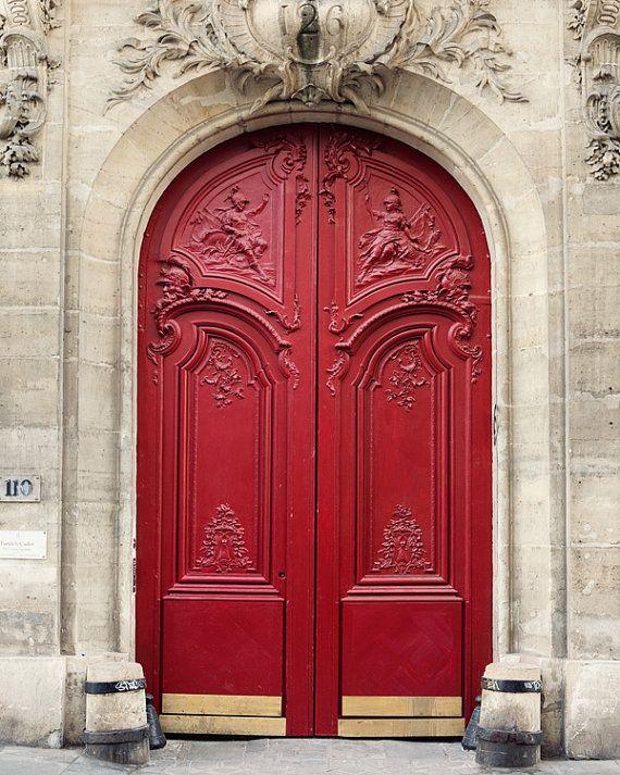Paris Photography Red Door Paris Print by EyePoetryPhotography