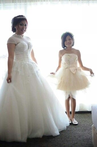 With My Litle Sister... we are wearing Mezmerize Gown Collection and make up by Esther MUA Batam