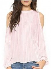Off Shoulder Pleated Crew Neck Long-sleeve-t-shirts