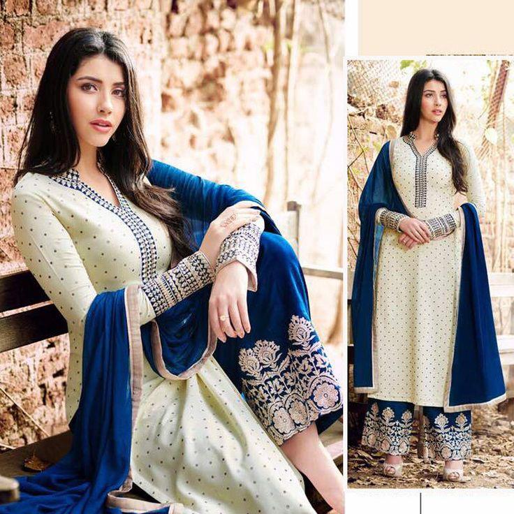 indian pakistani eid bollywood designer wedding party shalwar kameez suits plazo #Handmade #salwarkameez
