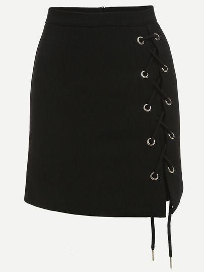 Falda con olajes cordones lateral -negro