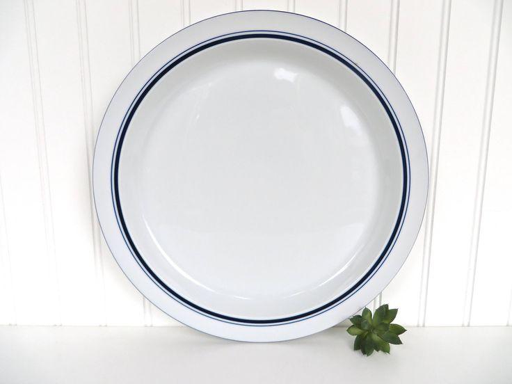 Vintage Dansk Bistro Chop Plate, Large Blue And White Christianshav Serving Plate, Dansk Modern White Serving Platter by HerVintageCrush on Etsy