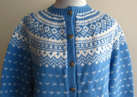 Vintage 60s Sweater Blue Norwegian Wool Hand by hillbillyfilly