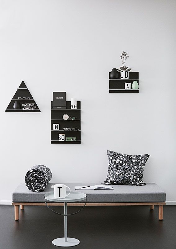 Organize the living room - or any other room - with Paper Shelf in different dimensions. The shelves are a storage and decoration item in the same time. Gives a graphic and monochrome expression.