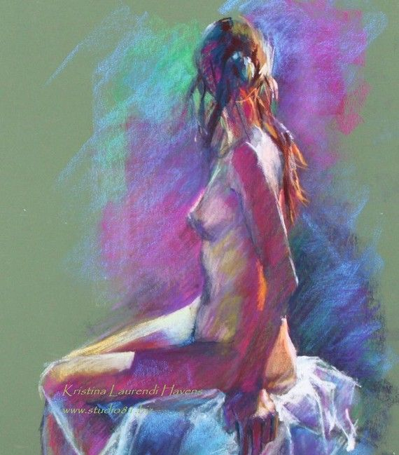 Colorful Original Pastel Drawing of Female Model on Olive Green by Kristina Laurendi Havens