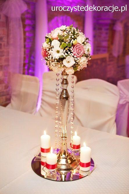 okrągłe bukiety na stoły weselne