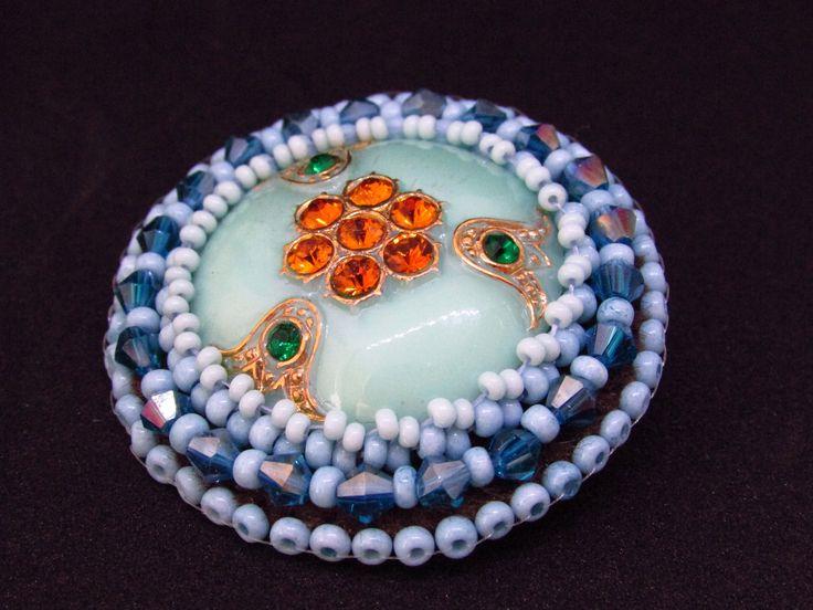 Beaded glass button brooch, Handmade Czech Glass button jewelry brooch, Light blue round flower brooch, vintage button beadwork brooch