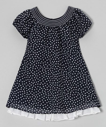 Navy & White Ruffle Hem Swing Dress - Toddler & Girls