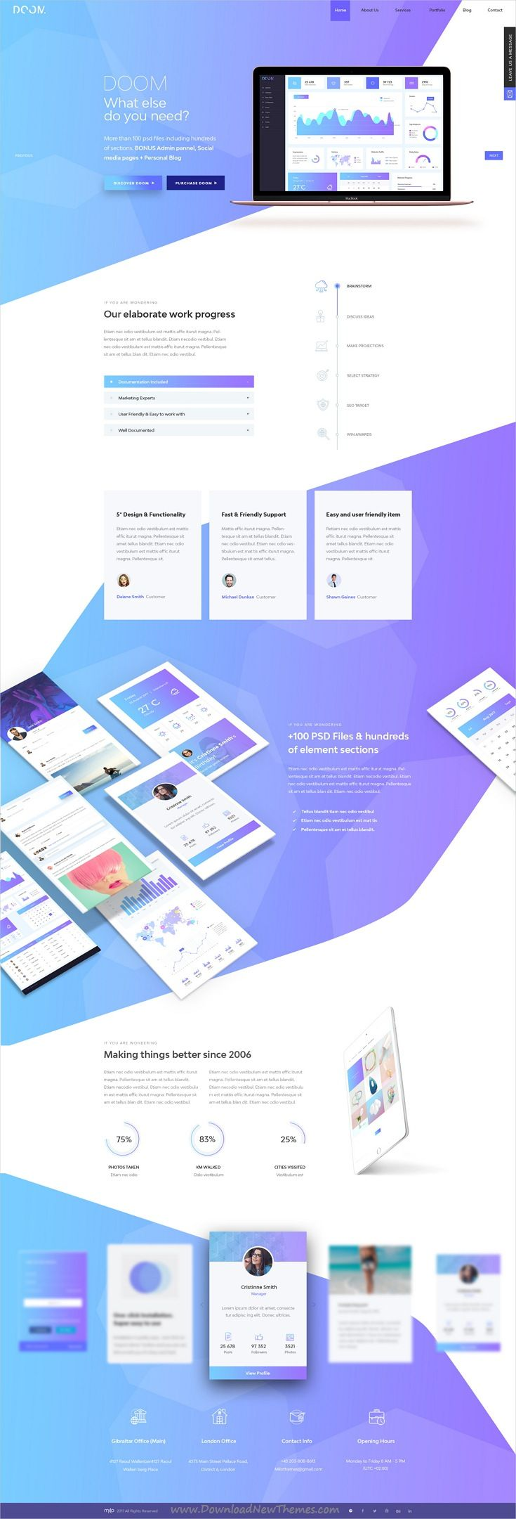 Doom is massive all in one PSD pack template for stunning #app #landingpage website with 100+ elements and 30+ niche homepage layouts download now..