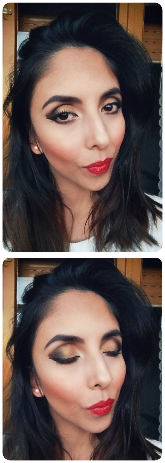 Full makeup - red lips - party -night
